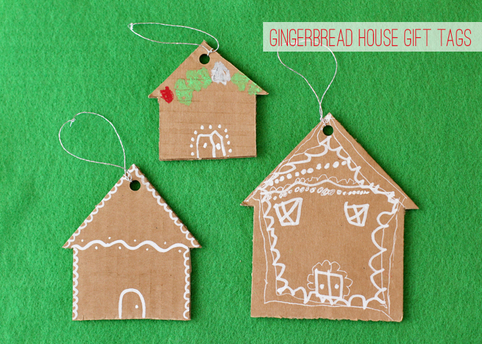cardboard gingerbread house gift tags
