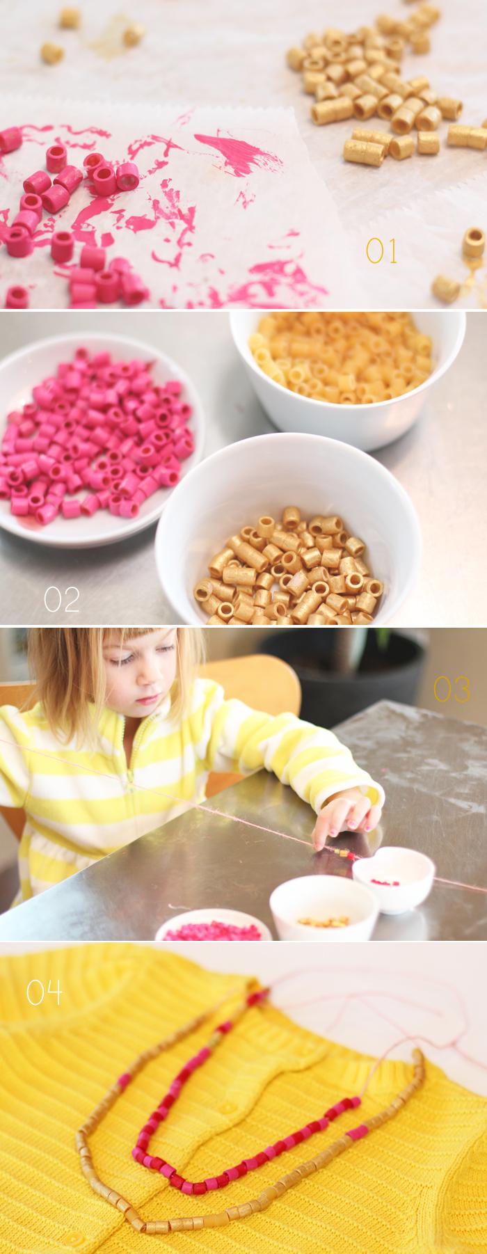 pasta beads necklaces