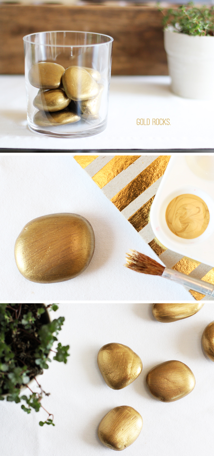 gold painted rocks for st. patricks day
