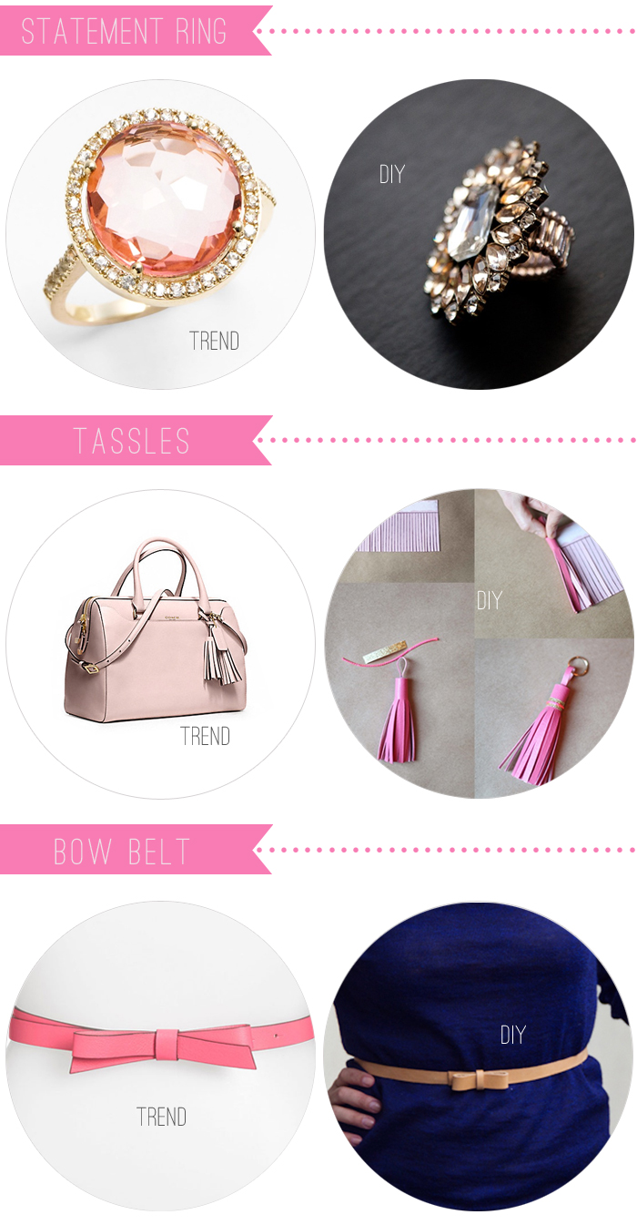 diy: statement ring, tassle, bow belt
