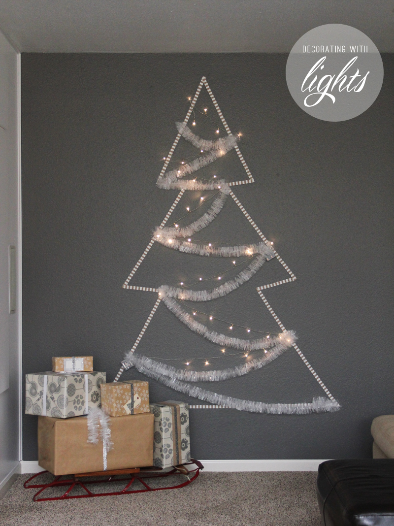 decorating with christmas lights - wall tree lights