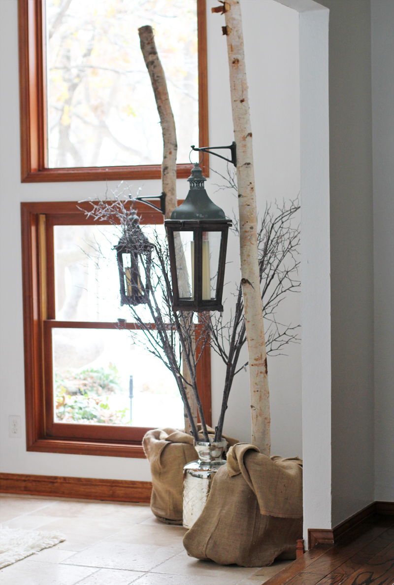birch trees in a modern rustic holiday decor