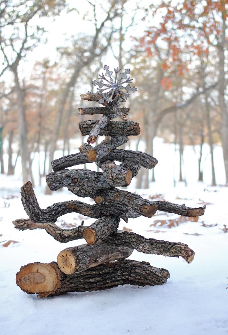 a firewood Christmas tree